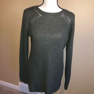 Long olive green sweater